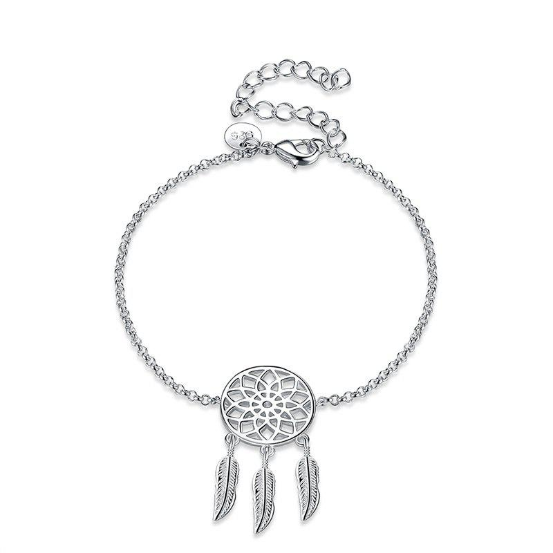 Dream Catcher Charm Chain BraceletJEWELRY<br><br>Color: SILVER; Item Type: Charm Bracelet; Gender: For Women; Chain Type: Link Chain; Style: Trendy; Shape/Pattern: Floral,Round; Length: 20CM; Weight: 0.0300kg; Package Contents: 1 x Bracelet;