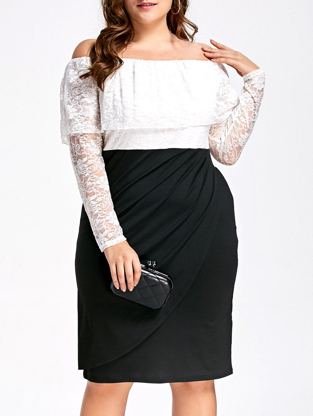 Lace Plus Size Off Shoulder Two Tone Sheath DressWOMEN<br><br>Size: 5XL; Color: WHITE AND BLACK; Style: Brief; Material: Polyester,Spandex; Silhouette: Sheath; Dresses Length: Knee-Length; Neckline: Off The Shoulder; Sleeve Length: Long Sleeves; Pattern Type: Others; With Belt: No; Season: Fall,Spring; Weight: 0.3970kg; Package Contents: 1 x Dress;