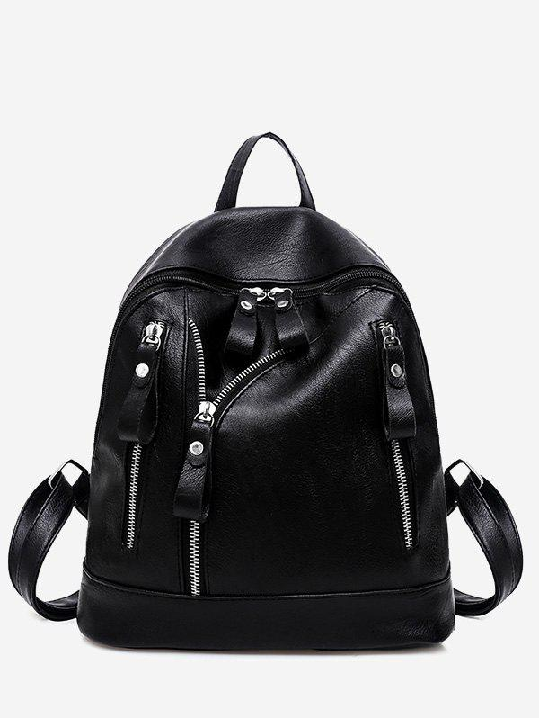 PU Leather Zipper BackpackSHOES &amp; BAGS<br><br>Color: BLACK; Handbag Type: Backpack; Style: Fashion; Gender: For Women; Pattern Type: Solid; Handbag Size: Small(20-30cm); Closure Type: Zipper; Interior: Interior Zipper Pocket; Occasion: Casual; Main Material: PU; Weight: 0.6000kg; Size(CM)(L*W*H): 28*13*27; Package Contents: 1 x Backpack;