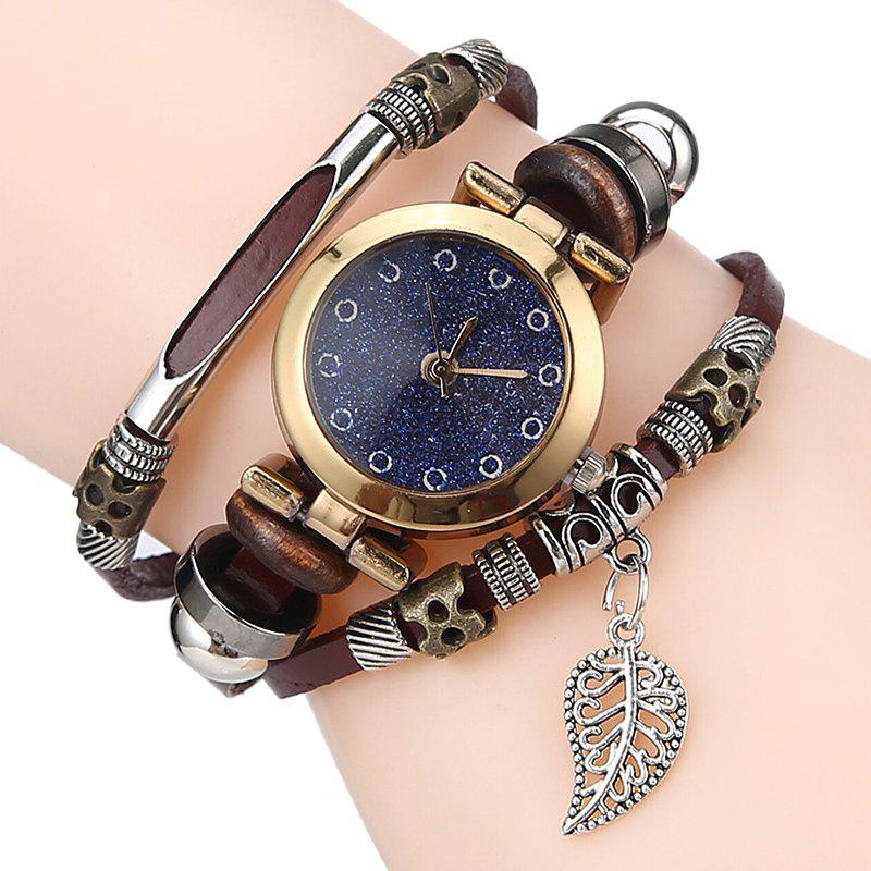 Glitter Powder Face Leaf Charm Bracelet WatchJEWELRY<br><br>Color: ESPRESSO; Gender: For Women; Style: Fashion; Type: Bracelet Watch; Index Dial: Analog; Case material: Alloy; Band material: PU Leather; Movement: Quartz; Dial Shape: Round; Water-Proof: No; Case Thickness(MM): 6mm; Dial Diameter: 2.5cm; Band Length(CM): 22cm; Package Contents: 1 x Watch;
