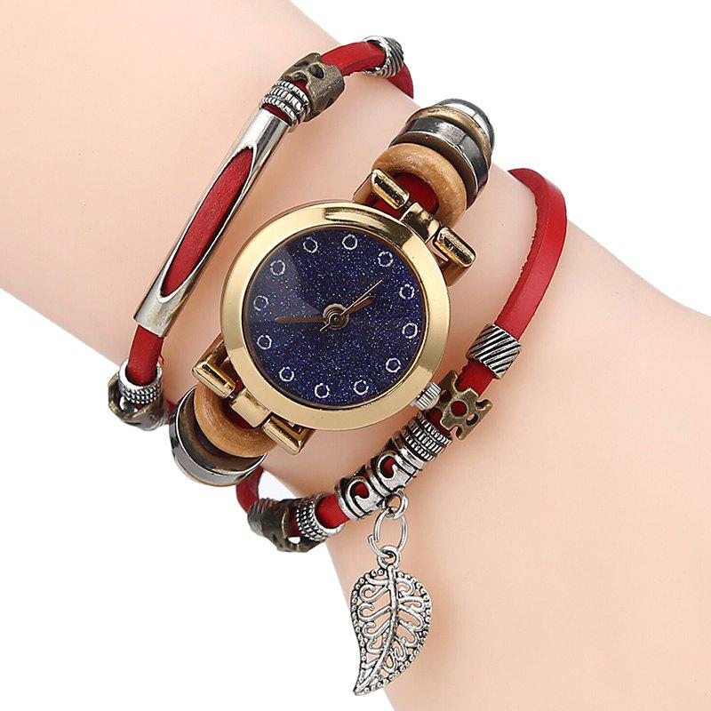 Sale Glitter Powder Face Leaf Charm Bracelet Watch