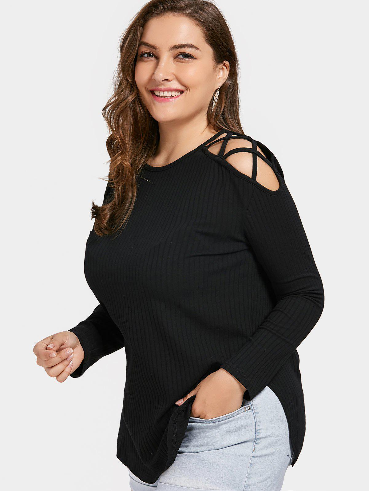 Strappy Cold Shoulder Plus Size T-shirtWOMEN<br><br>Size: 2XL; Color: BLACK; Material: Polyester; Shirt Length: Regular; Sleeve Length: Full; Collar: Round Neck; Style: Fashion; Season: Fall; Pattern Type: Solid; Weight: 0.3200kg; Package Contents: 1 x T-shirt;