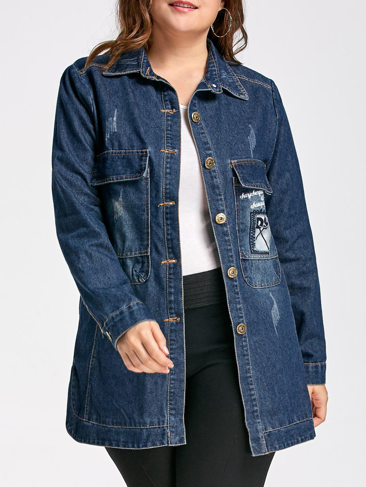 Online Plus Size Patched Destroyed Wash Long Denim Jacket