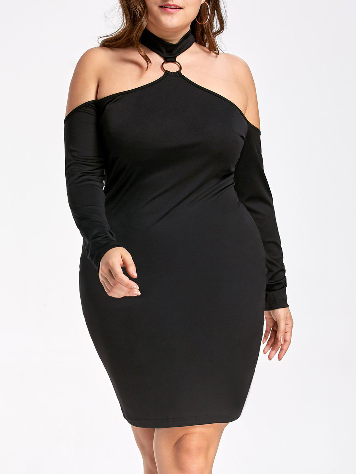 Plus Size Cold Shoulder Long Sleeve DressWOMEN<br><br>Size: 2XL; Color: BLACK; Style: Brief; Material: Polyester,Spandex; Silhouette: Sheath; Dresses Length: Knee-Length; Neckline: Mock Neck; Sleeve Length: Long Sleeves; Pattern Type: Solid Color; With Belt: No; Season: Fall,Spring,Summer; Weight: 0.3000kg; Package Contents: 1 x Dress;