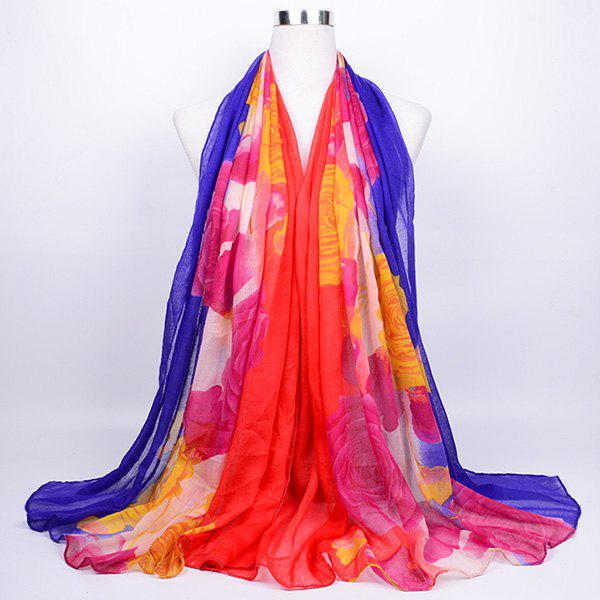 Flower Print Color Block Voile Wrap ScarfACCESSORIES<br><br>Color: RED BLUE; Scarf Type: Scarf; Group: Adult; Gender: For Women; Style: Fashion; Material: Polyester; Pattern Type: Floral,Print; Season: Fall,Spring; Scarf Length: 180CM; Scarf Width (CM): 85CM; Weight: 0.1000kg; Package Contents: 1 x Scarf;