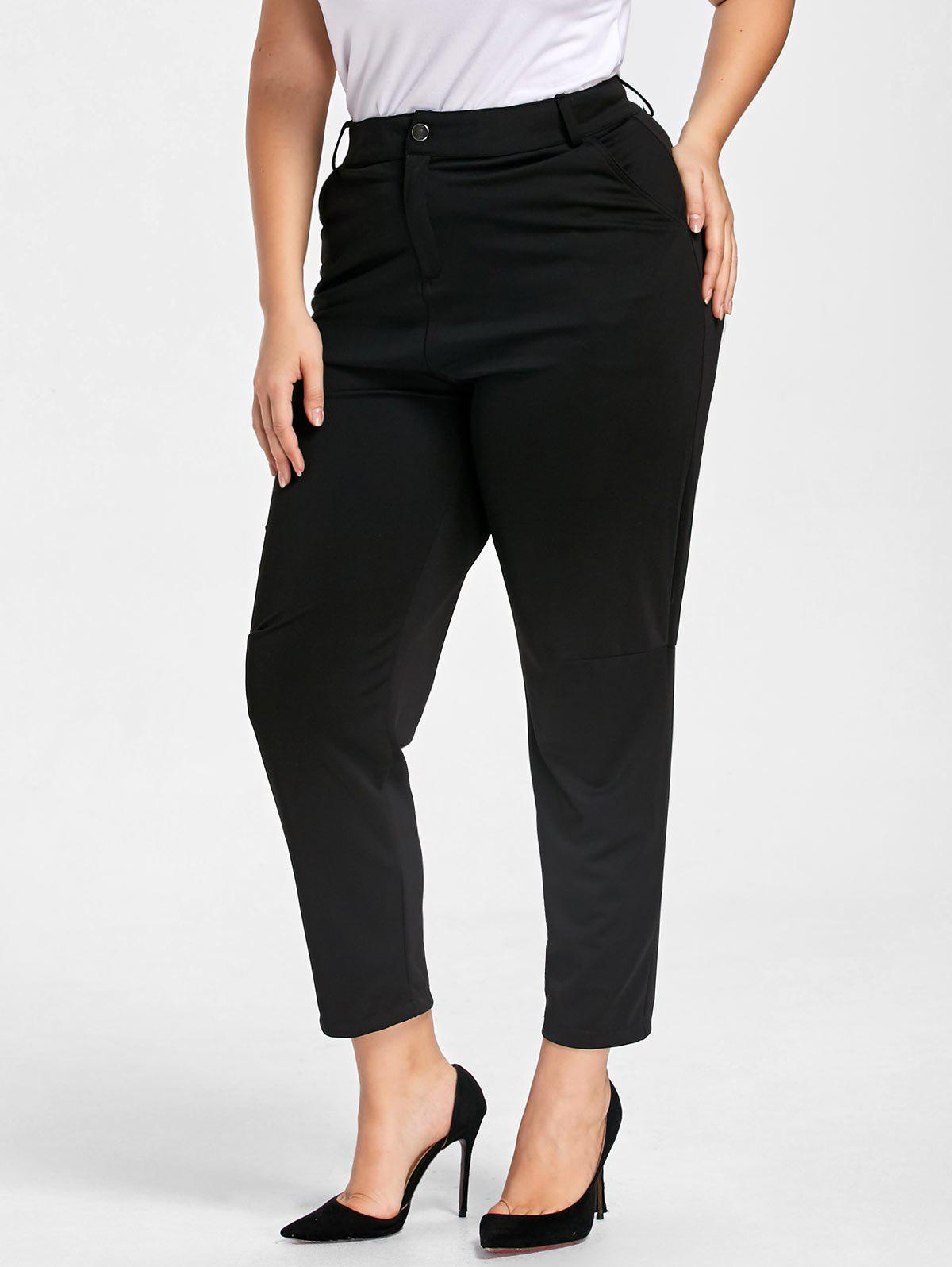 Plus Size Zipper Fly Skinny PantsWOMEN<br><br>Size: 2XL; Color: BLACK; Style: Casual; Length: Normal; Material: Cotton,Polyester; Fit Type: Regular; Waist Type: Mid; Closure Type: Zipper Fly; Pattern Type: Solid; Pant Style: Pencil Pants; Weight: 0.3500kg; Package Contents: 1 x Pants;