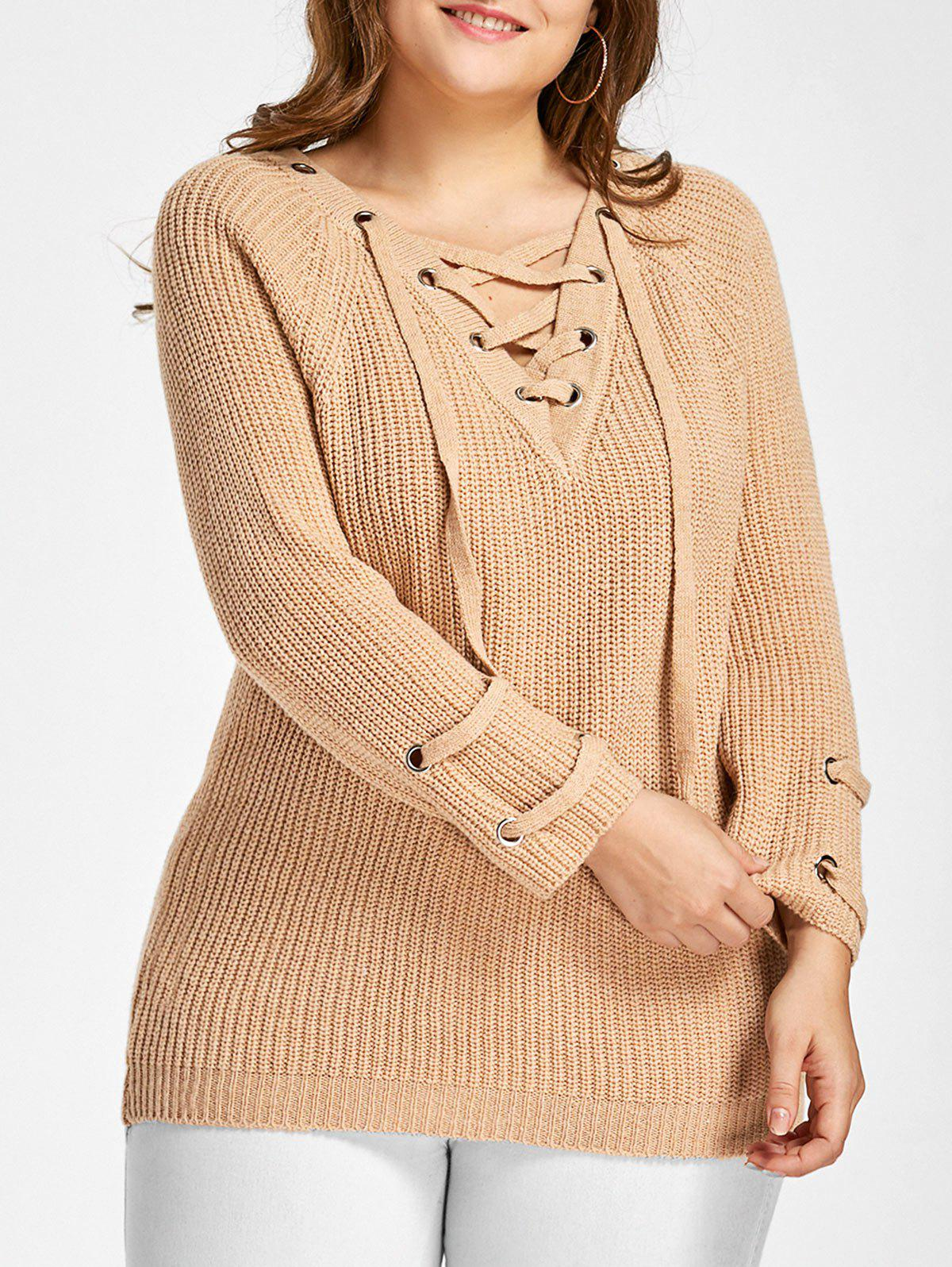 Buy Plus Size Raglan Sleeve Lace Up Sweater