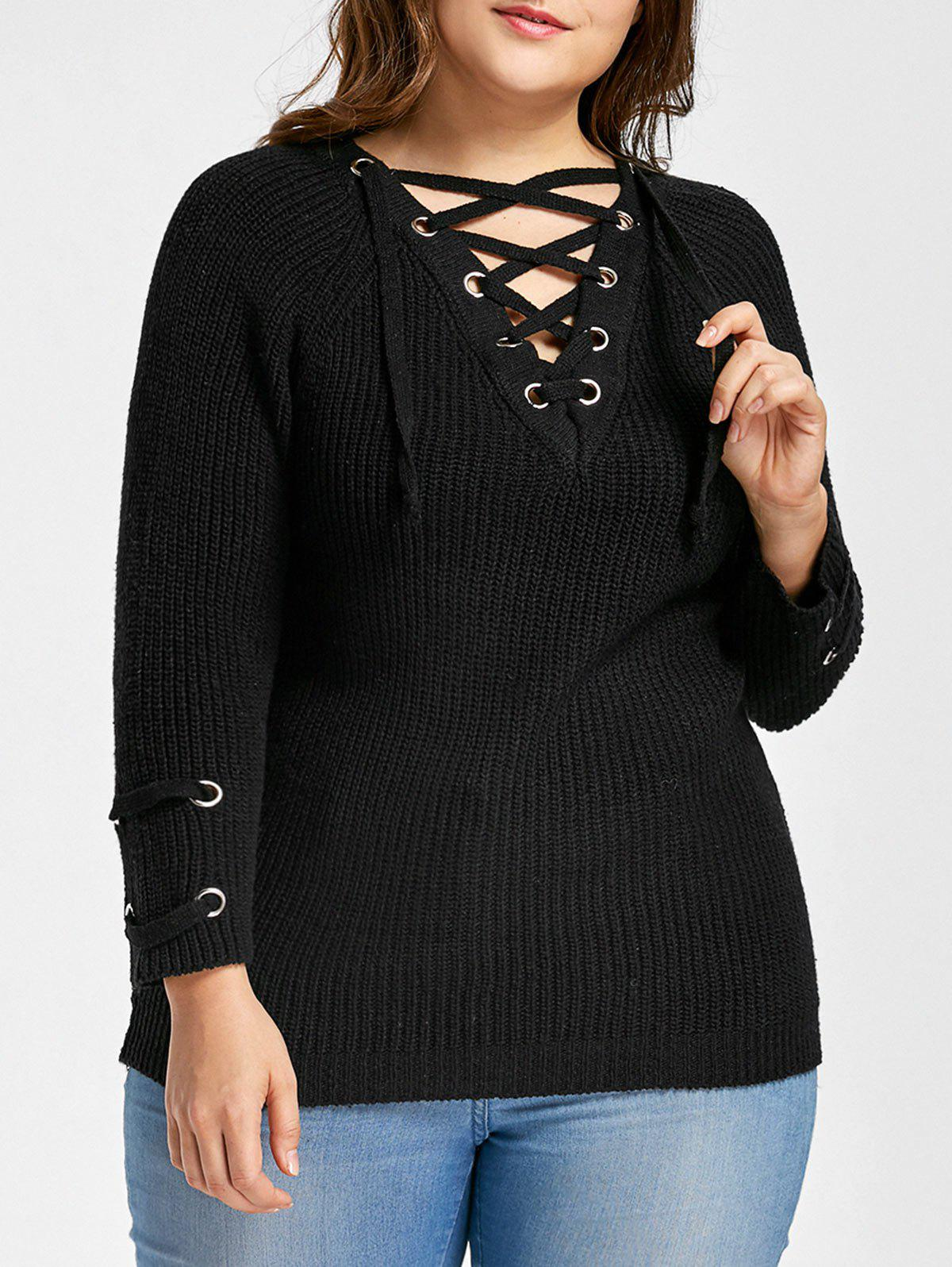 Plus Size Raglan Sleeve Lace Up SweaterWOMEN<br><br>Size: ONE SIZE; Color: BLACK; Type: Pullovers; Material: Acrylic,Polyester; Sleeve Length: Full; Collar: V-Neck; Style: Fashion; Season: Fall; Pattern Type: Solid; Weight: 0.5300kg; Package Contents: 1 x Sweater;