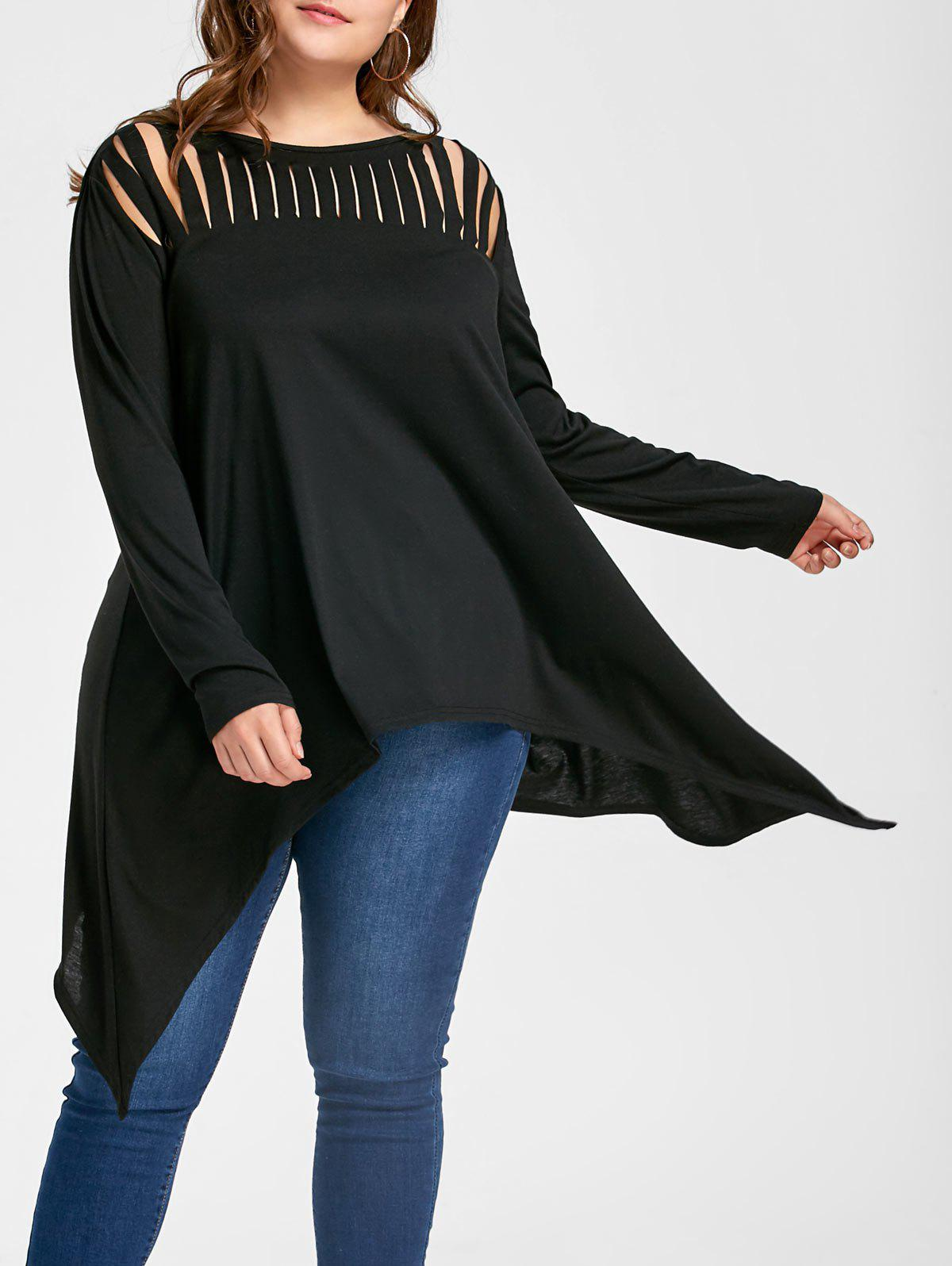 Plus Size Ripped Crescent Hem Tunic TopWOMEN<br><br>Size: 4XL; Color: BLACK; Material: Polyester,Spandex; Shirt Length: Long; Sleeve Length: Full; Collar: Slash Neck; Style: Casual; Season: Fall,Spring; Pattern Type: Solid; Weight: 0.3300kg; Package Contents: 1 x Top;