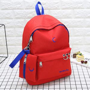 Embroidery 2 Pieces Color Block Backpack Set - RED