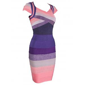 Cap Sleeve Color Block Bandage Dress -