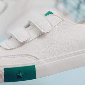 Hook and Loop Faux Leather Sneakers - GREEN 37