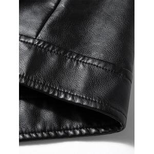 Gilet Asymétrique Zip Epaulet Design Faux Leather - Noir 3XL
