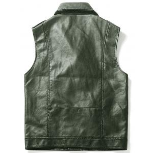 Gilet Asymétrique Zip Epaulet Design Faux Leather - Vert L