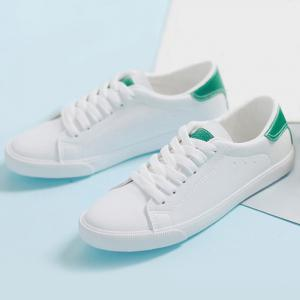 Round Toe Color Block Sneakers - GREEN 39