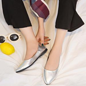 Pointed Toe PU Leather Slip On Flats - Argent 37