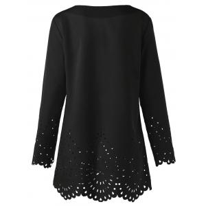Openwork V Neck Scalloped Blouse - BLACK XL