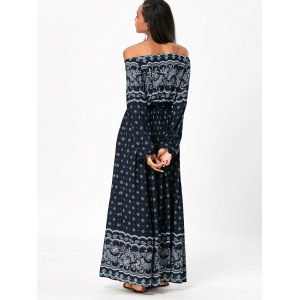 Bohemia Print Off Shoulder Maxi Dress -