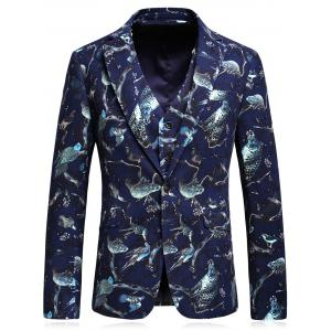 3D Animal Florals Print Blazer Three Piece Suit - CADETBLUE L