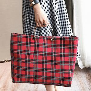 Tartan Color Block Canvas Handbag -