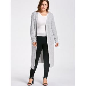 Plus Size Slit Open Front  Long Chunky Knit Cardigan -