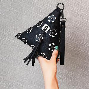 Tassels Triangle Shape Flowers Clutch Bag -
