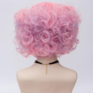 Short Full Bang Fluffy Curly Highlight Synthetic Party Wig - PINK