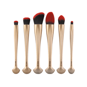 6Pcs Shell Design Plated Facial Makeup Brushes Set - GOLD AND RED