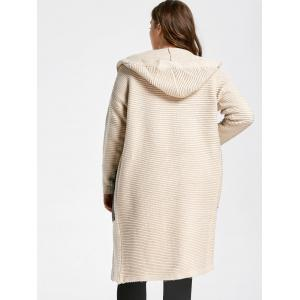 Plus Size Pockets Long Chunky Hooded Sweater Coat - APRICOT ONE SIZE