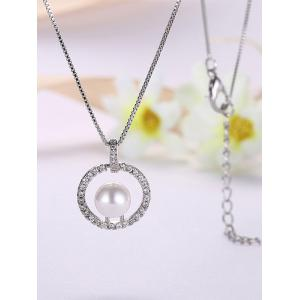 Rhinestone Faux Pearl Charm Circle Necklace -