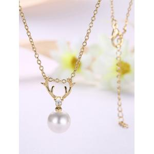 Faux Pearl Charm Deer Horn Necklace -