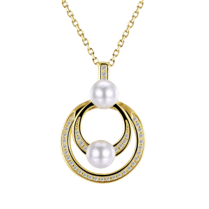 Faux Pearl Doubled Circle Collarbone Necklace -