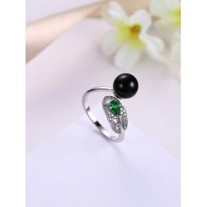 Faux Emerald Rhinestoned Ball Manch Ring -