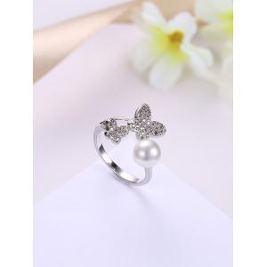 Rhinestone Ball Butterfly Cuff Ring - WHITE