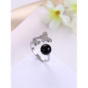 Rhinestone Ball Butterfly Cuff Ring - BLACK