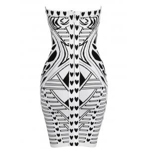 Geometric Jacquard Bandeau Bandage Dress - WHITE AND BLACK S