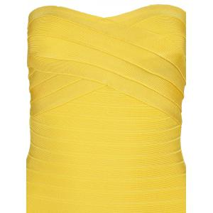 Night Out Bandeau Bandage Dress - YELLOW M