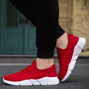 Low Top Tie Up Mesh Sneakers - RED 43