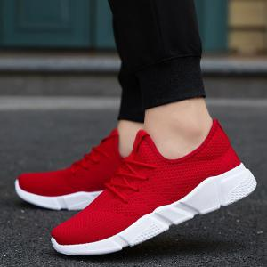Low Top Tie Up Mesh Sneakers - Rouge 43