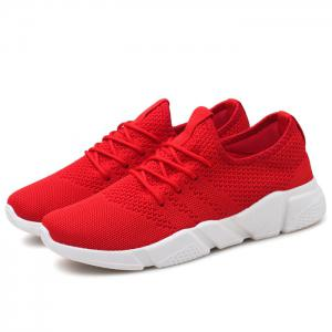 Low Top Tie Up Mesh Sneakers - Rouge 44