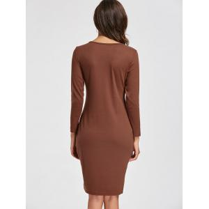 Long Sleeve Knee Length Slit Dress - CAMEL S