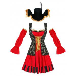 Flounced Pirate Cosplay Costume - RED L