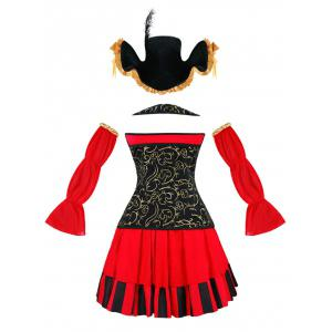 Flounced Pirate Cosplay Costume - RED 2XL