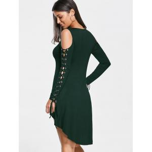 Open Shoulder Lace Up Tee Dress - BLACKISH GREEN 2XL