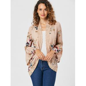 Flare Sleeve Lace Trimmed Floral Print Cardigan -