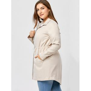 Plus Size High Low Zip Up Coat - APRICOT 2XL