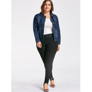 Button Plus Size Pockets Denim Jacket -