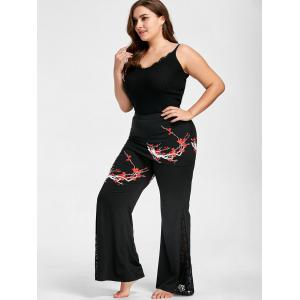 Plus Size Floral Print Lace Panel Bell Bottom Skirted Pants -