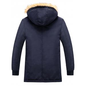 Patch Design Détachable Hood Zip Up Coat -