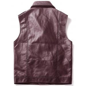 Gilet Asymétrique Zip Epaulet Design Faux Leather -